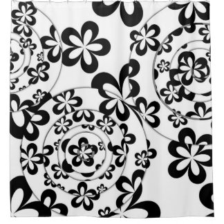 Curtains Ideas black shower curtain with white flower : Black And White Flowers Shower Curtains | Zazzle