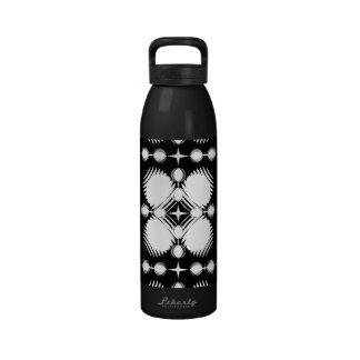 Black and White Ripples Big Water Bottles