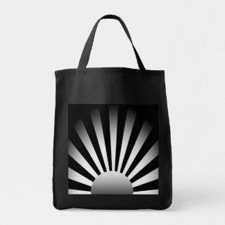 Black and White Rising Sun Tote Bag