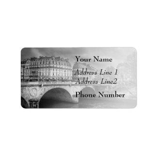 Black and White River Seine Address Label
