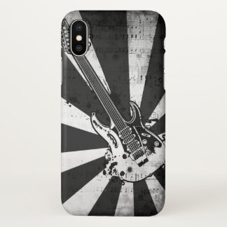 Black and White Rock Music Guitar Art iPhone X Case