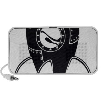 Black and white rocket travelling speakers