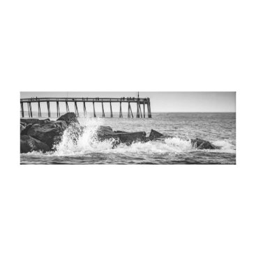 Beach Themed Black and White Rocks and Pier Canvas