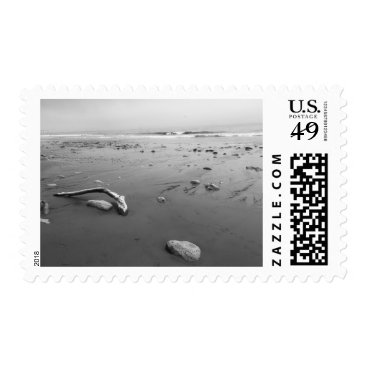 Beach Themed Black and White rocks at the beach Postage