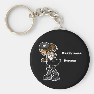 Black and White Roller Derby Jammer Customisable Keychain