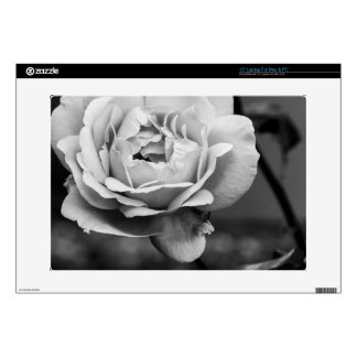 """Black and White Romantic Rose Decals For 15"""" Laptops"""