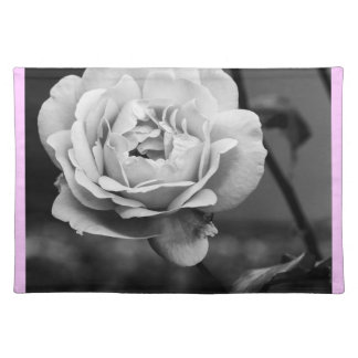 Black and White Romantic Rose Place Mats