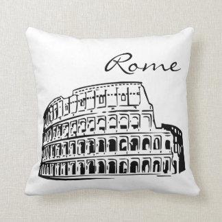 Black and White Rome Landmark Throw Pillow