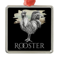 Black and White Rooster Dramatic Chicken Farm Metal Ornament