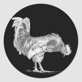 Black and White Rooster stickers