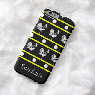 Black and White Roosters, Polka Dots and Stripes Barely There iPhone 6 Case