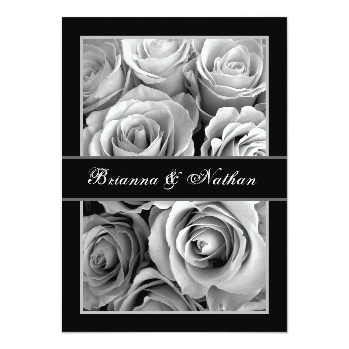 BLACK and WHITE Rose Bouquet Wedding Invitation