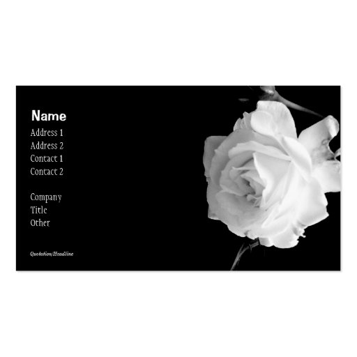 Black and White Rose Business Card
