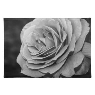 Black and White Rose Cloth Placemat