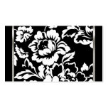 Black and White Rose Damask Business Card