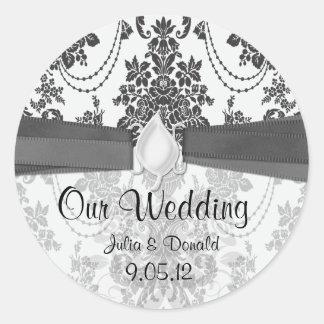black and white rose damask wedding classic round sticker