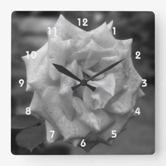 Black And White Rose Flower Square Wall Clock