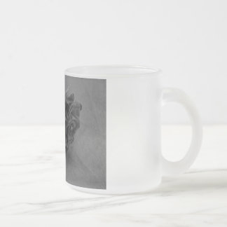 Black and White Rose Frosted Glass Coffee Mug