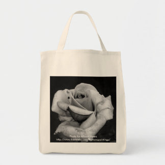 Black and White Rose Grocery Tote Bag