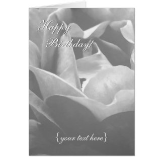Black And White Rose - Happy Birthday Card