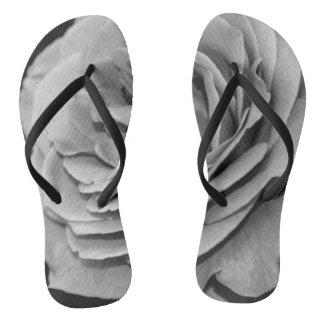 Black and White Rose Flip Flops