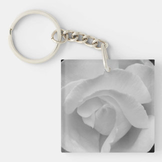 Black and White Rose Keychain
