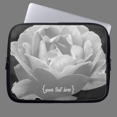 Black And White Rose Laptop Computer Sleeve