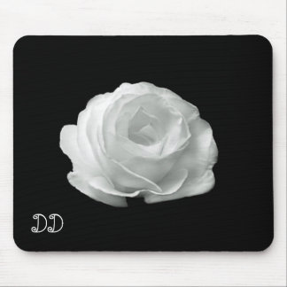 Black And White Rose Mouse Pad