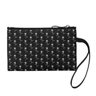 Black and White Rose Pattern. Coin Purses