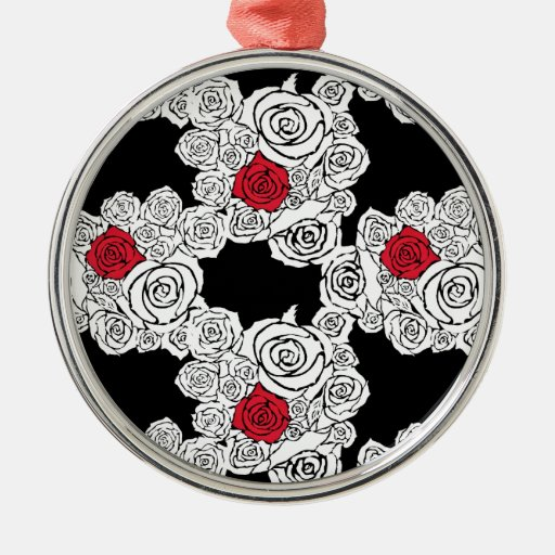 Black and White Rose Pattern Christmas Tree Ornaments