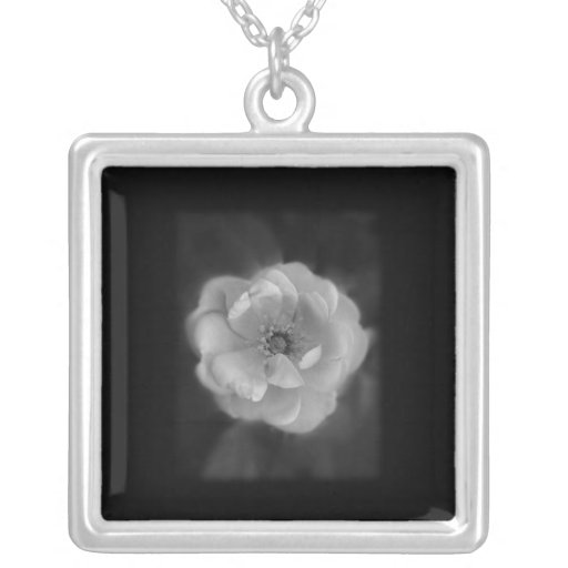 Black and White Rose. Personalized Necklace