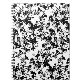 Black and White Rose Repeat Pattern Spiral Notebook