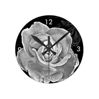 Black and White Rose Round Clock