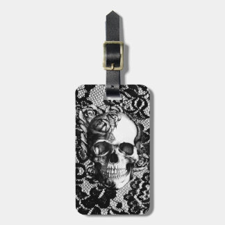 Black and white rose skull on lace background. bag tag