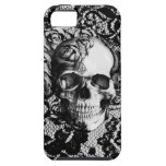 Black and white rose skull on lace background. iPhone 5 cover