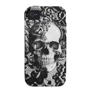 Black and white rose skull on lace background. Case-Mate iPhone 4 case