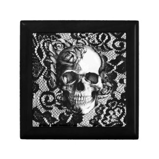 Black and white rose skull on lace background. gift box