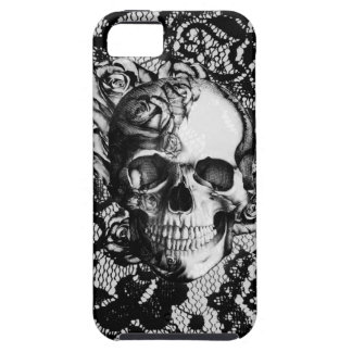 Black and white rose skull on lace background. iPhone 5 covers