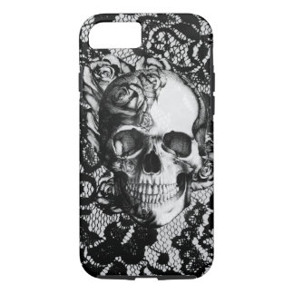 Black and white rose skull on lace background. iPhone 7 case
