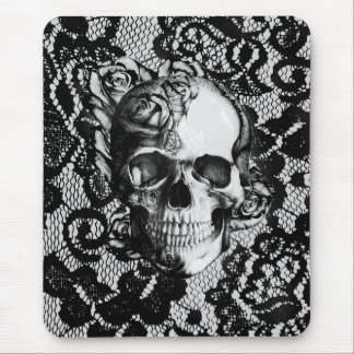 Black and white rose skull on lace background. mouse pad
