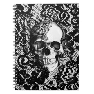 Black and white rose skull on lace background. spiral notebook