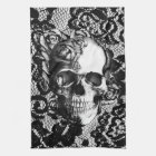 Black and white rose skull on lace background. towel