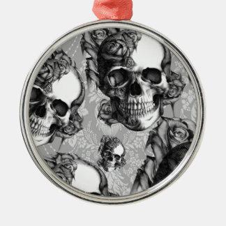 Black and white rose skull pattern, hand drawn. metal ornament