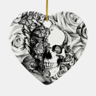 Black and white rose skull with butterflies ceramic ornament