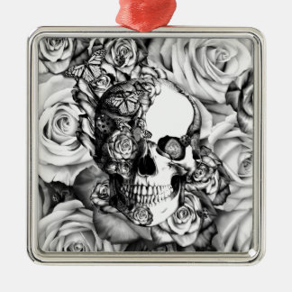 Black and white rose skull with butterflies metal ornament