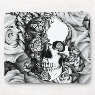 Black and white rose skull with butterflies mouse pad