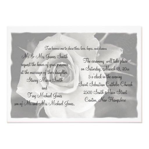 Black and White Rose Wedding Invitations