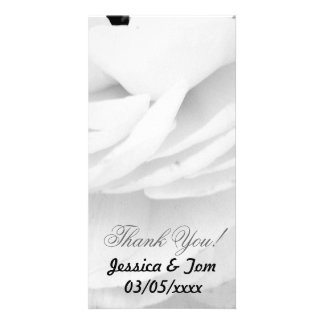 Black and White Rose wedding Photo Card