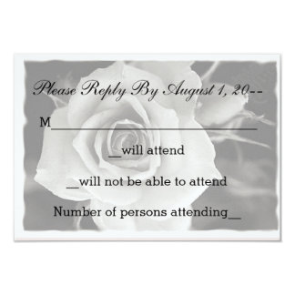 Black and White Rose Wedding RSVP, Reply Notes Card