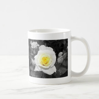Black and White Rose with Yellow Focal Coffee Mug